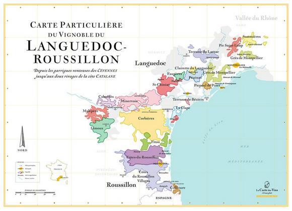 Exemple carte La carte des vins svp : Le vignoble du Languedoc