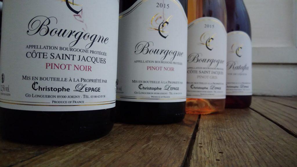 La gamme des vins de Christophe Lepage - AOC Bourgogne Côte Saint Jacques - ni bu ni connu