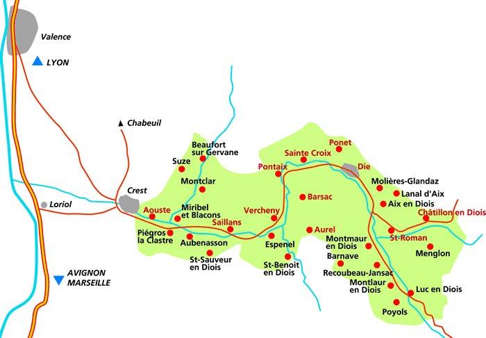 Carte localisation de l'aire d'appellation de la Clairette de Die