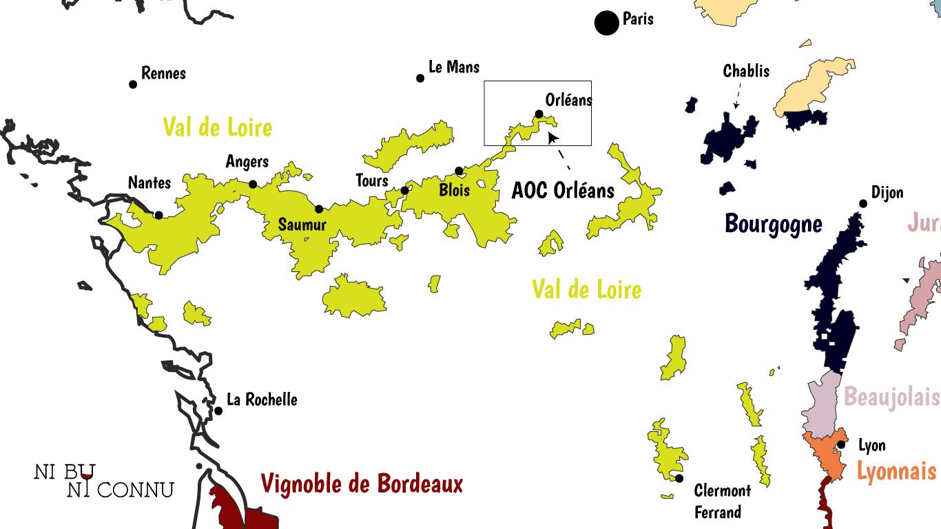 Localisation de l'AOC Orléans dans le vignoble du Val de Loire by ni bu ni connu.